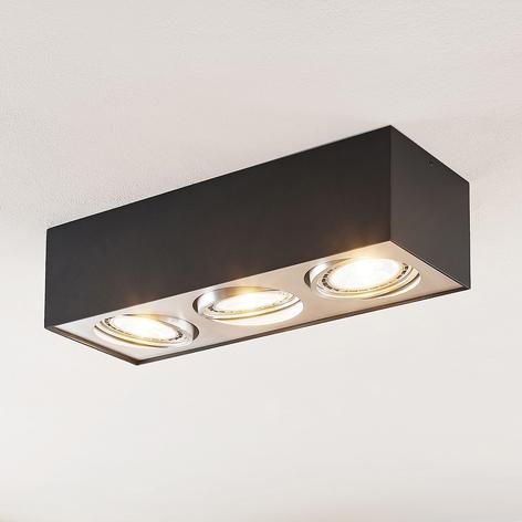 Arcchio Dwight LED-Deckenlampe in Schwarz, 3-fl.