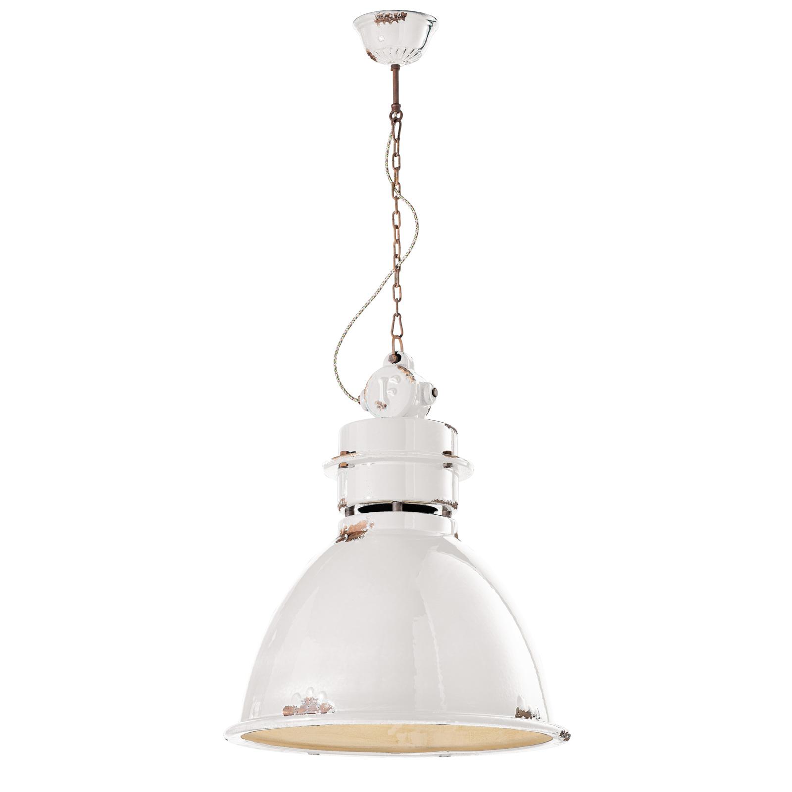 Lampa wisząca C1750 z ceramicznym kloszem, biała