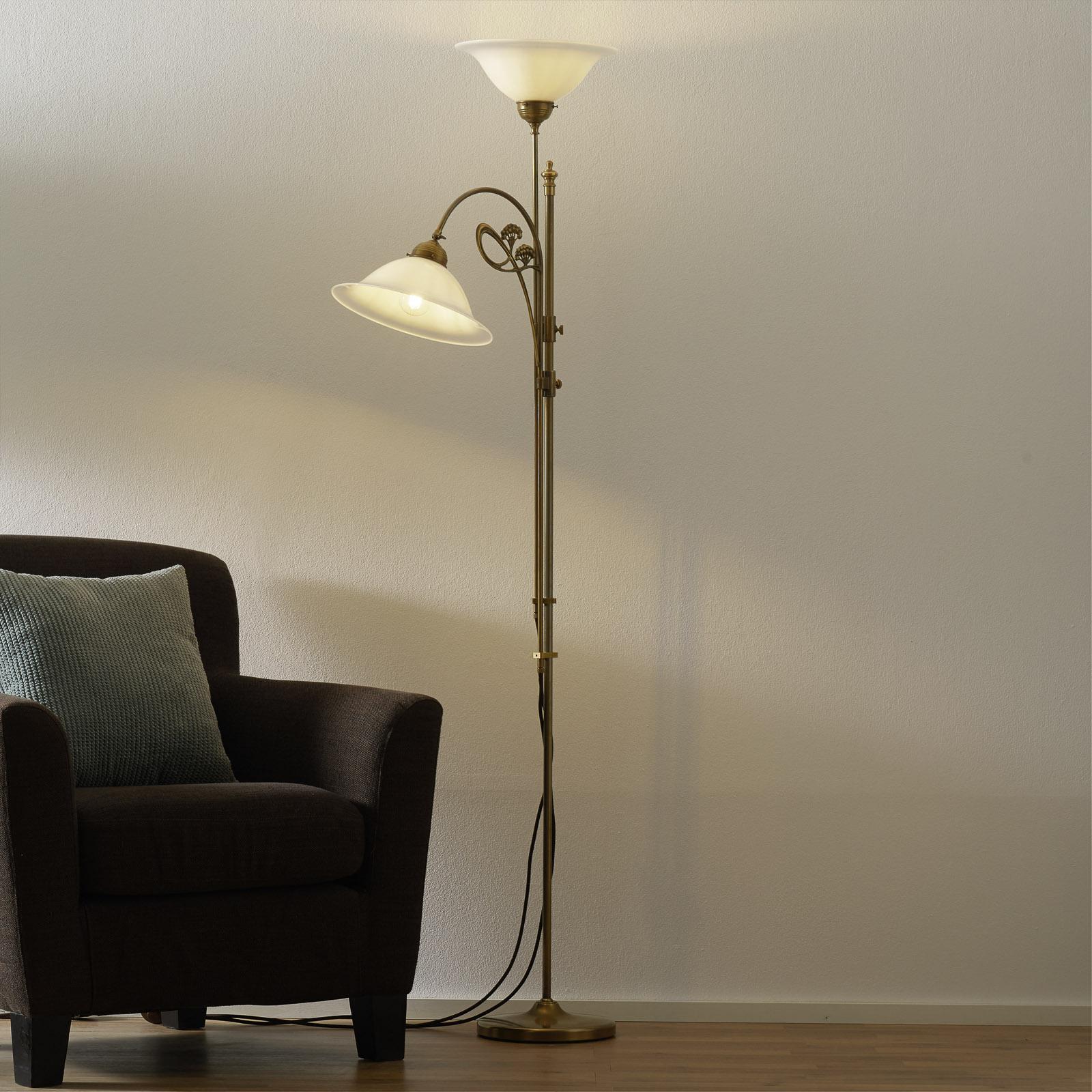 Mosadzná stojaca lampa Alwine dvoj-plameňová_1542009_1