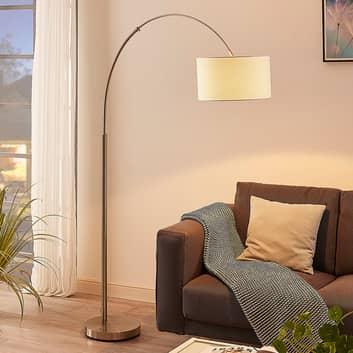 Bågformad golvlampa Railyn med krämvit tygskärm