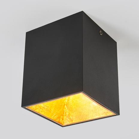 Sześcienna lampa sufitowa LED Juma, czarno-złota