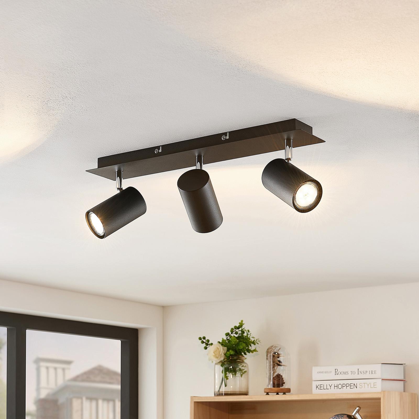 Lindby Joffrey foco de techo, 3 luces, negro