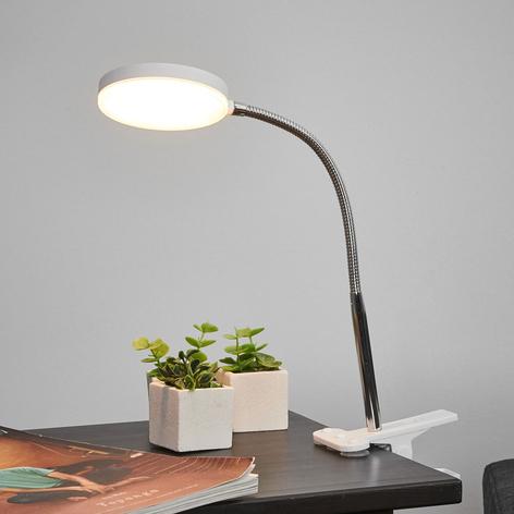 Klemme-bordlampe Milow med LED og fleksarm