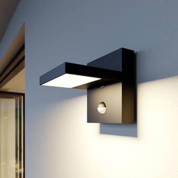 Udendørs LED-væglampe Silvan, mørkegrå, med sensor