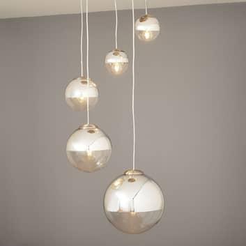 Lámpara colgante Ravena esferas cristal, 5 brazos