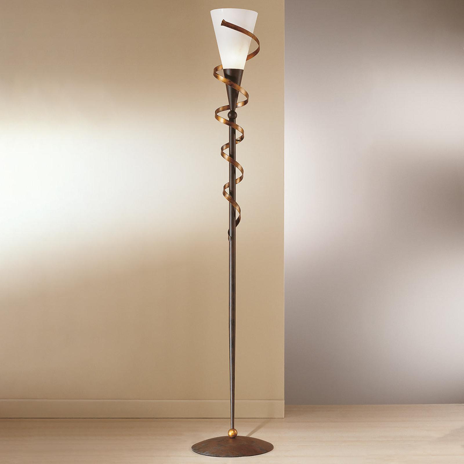BONITO gulvlampe med gullfarget spiral