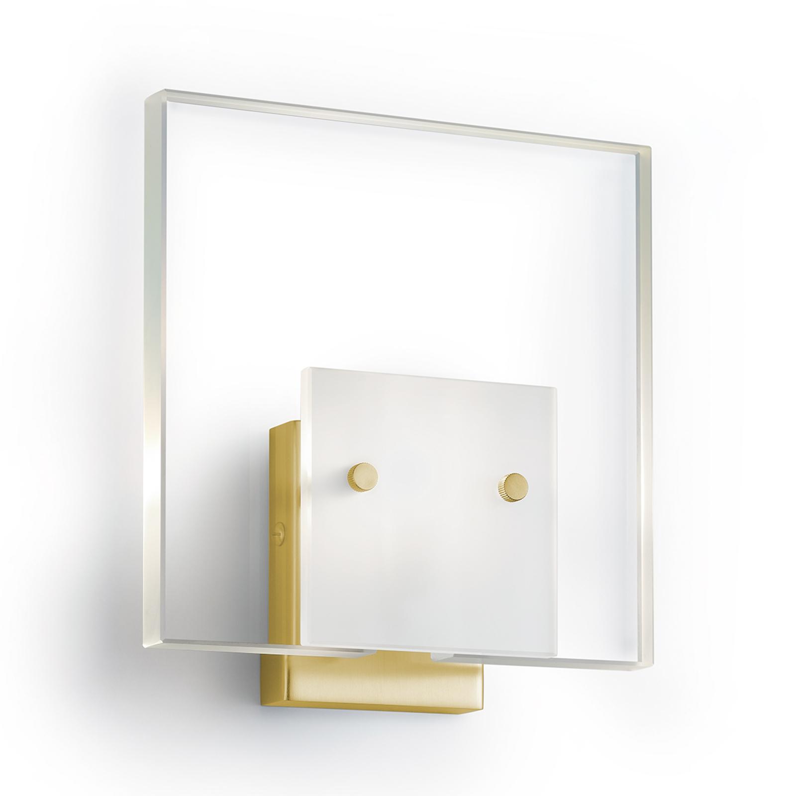 Satinované nástěnné světlo GLASS mosaz matná