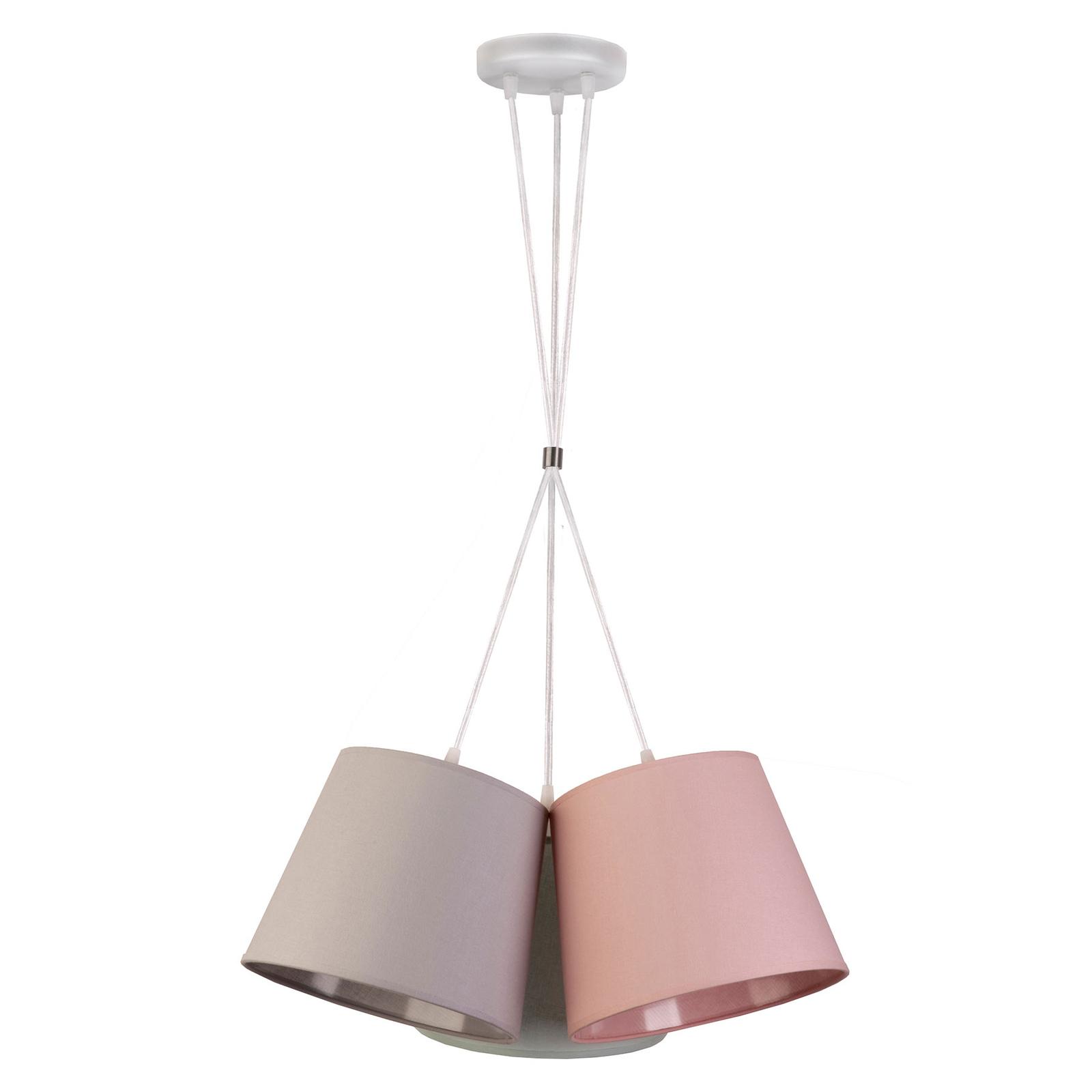 Lampada sospensione Rossa, 3 luci, grigio/rosa