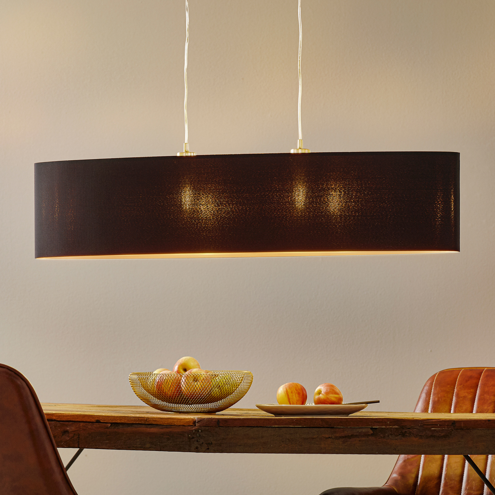 Lámpara colgante textil Lecio, dorado-negro
