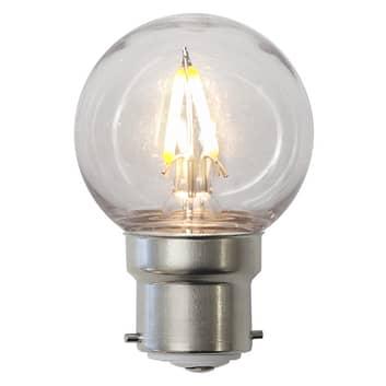 LED-pære B22 G45 1,3W, brudsikker, klar, IP60