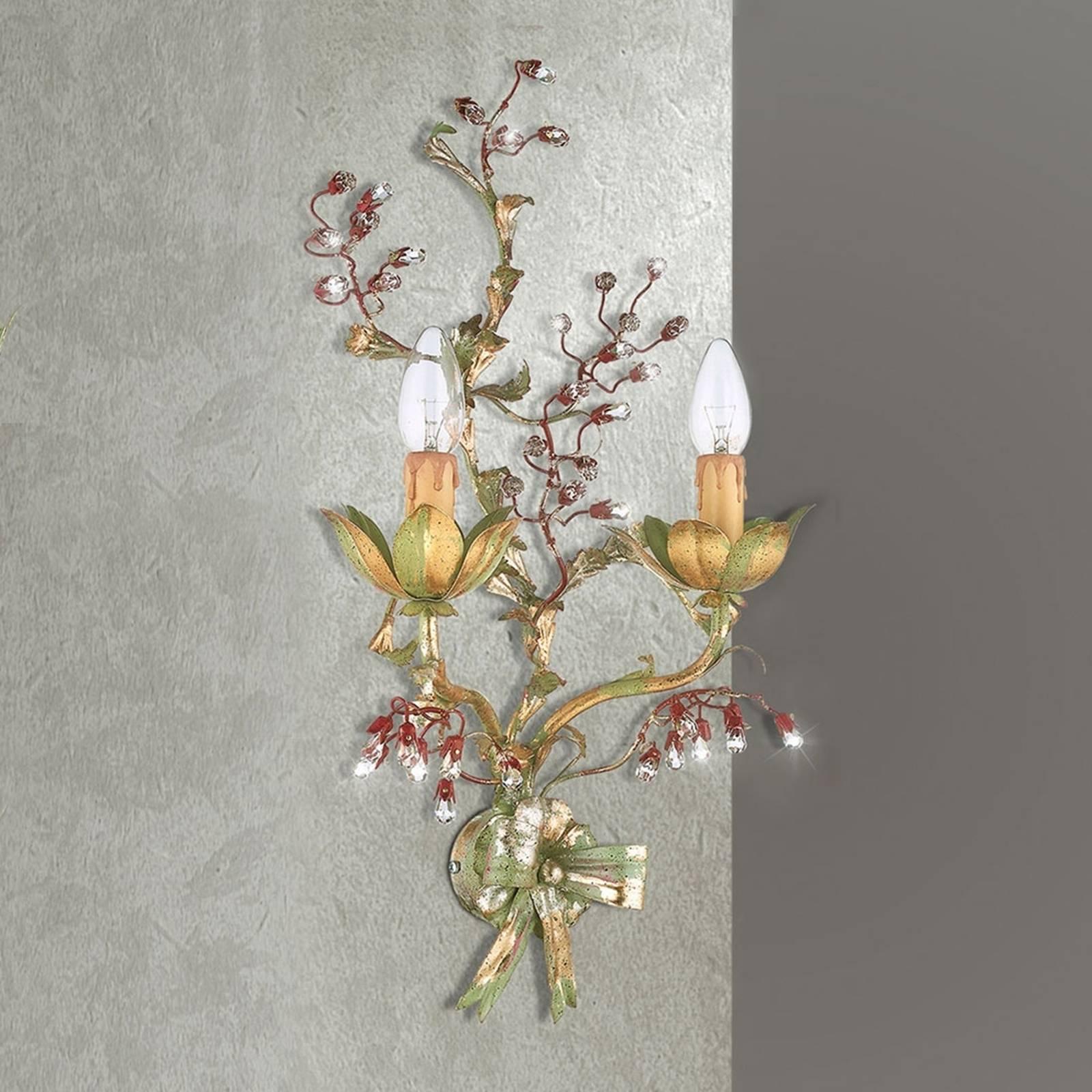 Met bloemen versierde wandlamp Viticcio