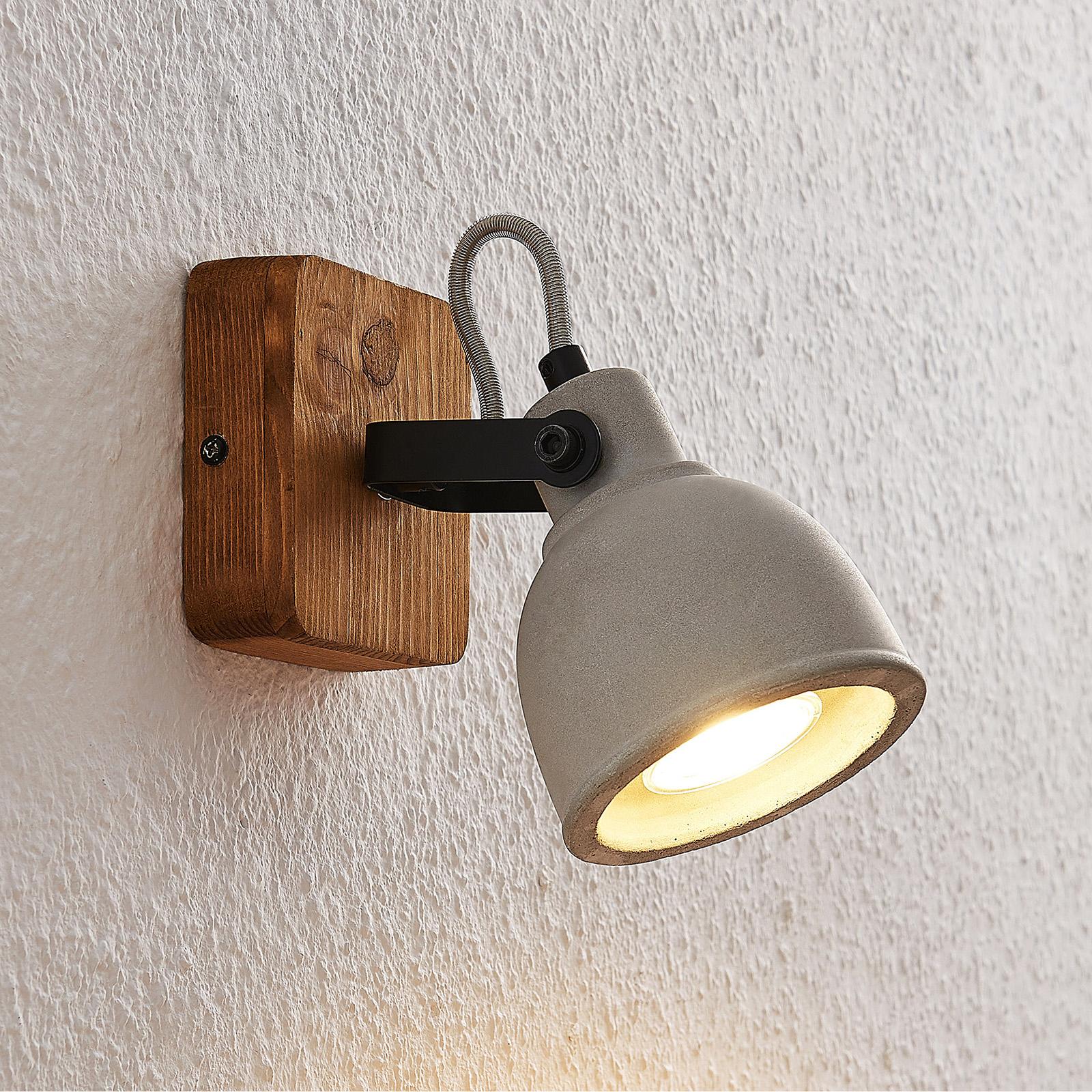 Lindby Mirka foco de techo LED, madera y hormigón