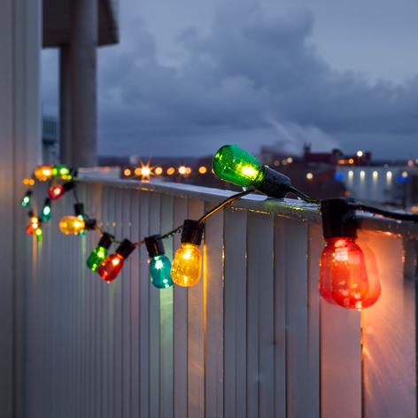 Lichterkette Biergarten 40 LED-Tropfen bunt