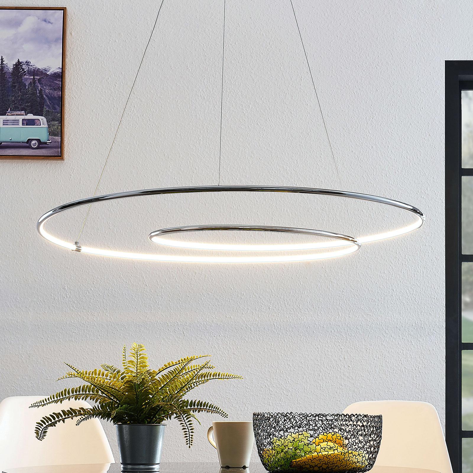 Lindby Lucy lámpara colgante LED, 90 cm, cromo