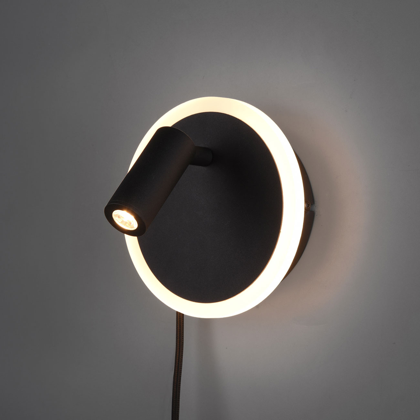 Nástěnné LED světlo Jordan, dvě žárovky, černé
