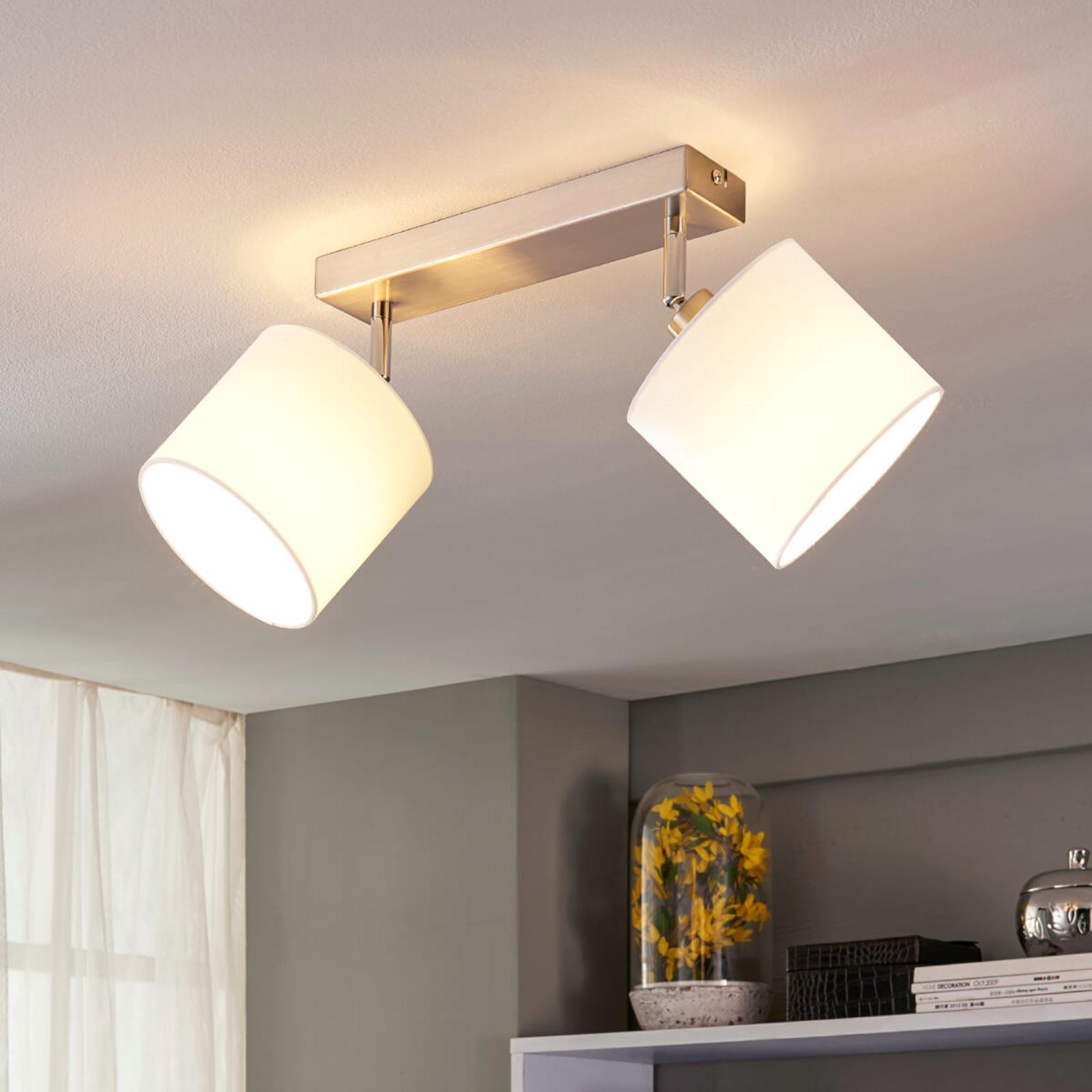 2-punktowa lampa sufitowa LED, klosze z tkaniny