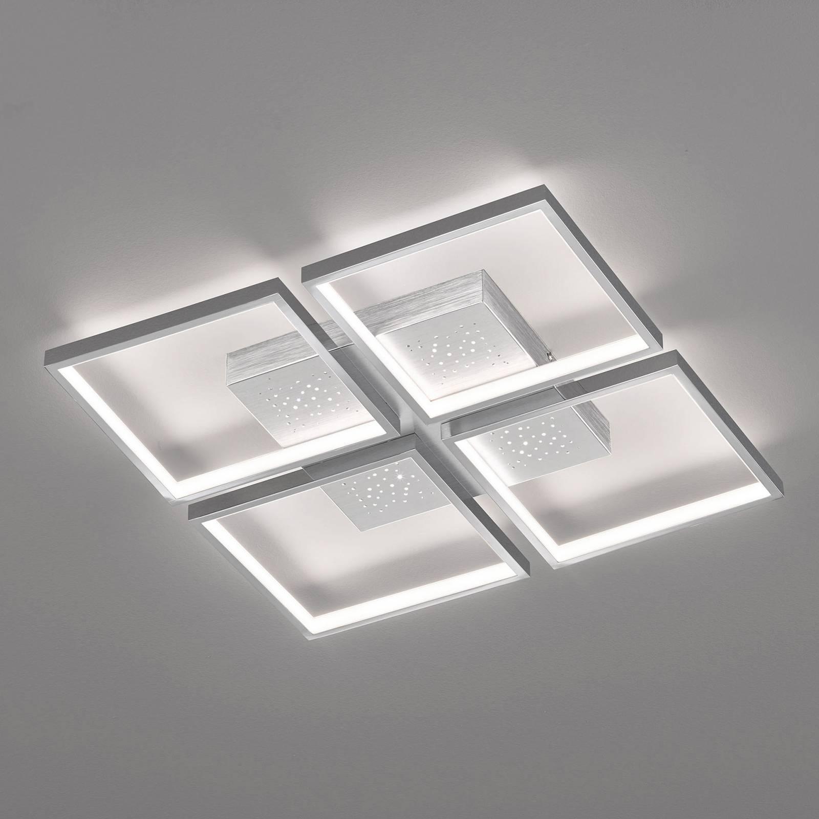 Lampa sufitowa LED Pix aluminium, 4-pkt., 54x54cm