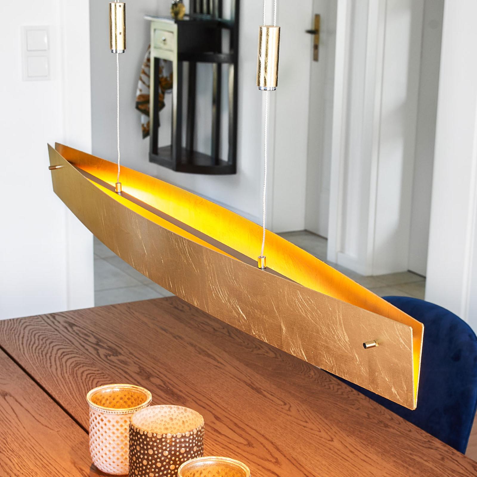 Złota lampa wisząca LED MALU, 100 cm