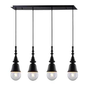 Lucande Gesja suspension 4 lampes allongée noire