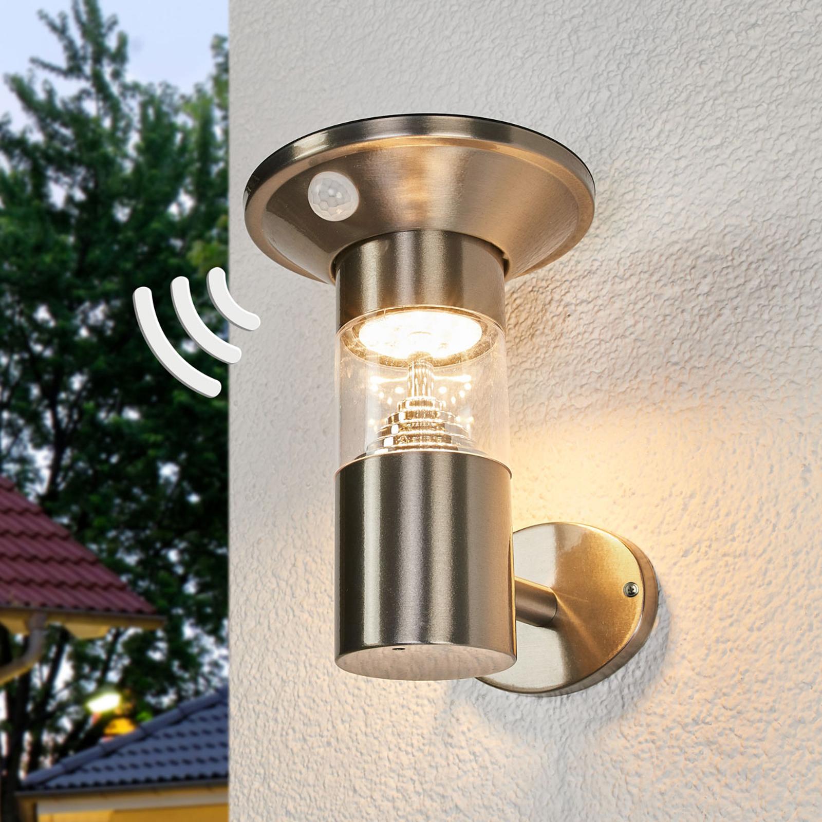 LED-solcellelampe Jalisa i rustfritt stål, sensor