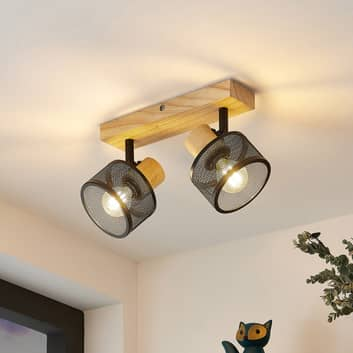 Lindby Evinora stropní reflektor, dřevo, 2zdrojový