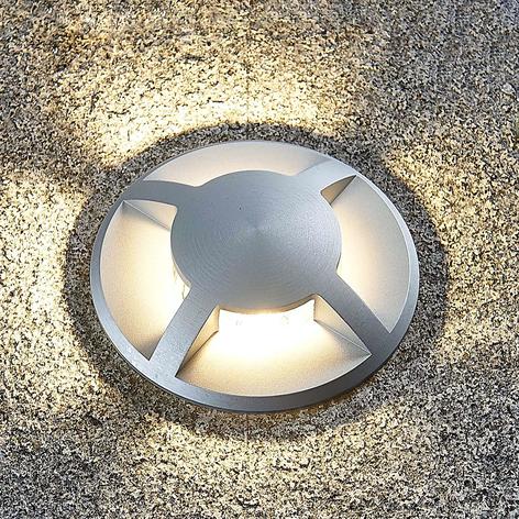 Golvinbyggnadslampa Edwina i aluminium