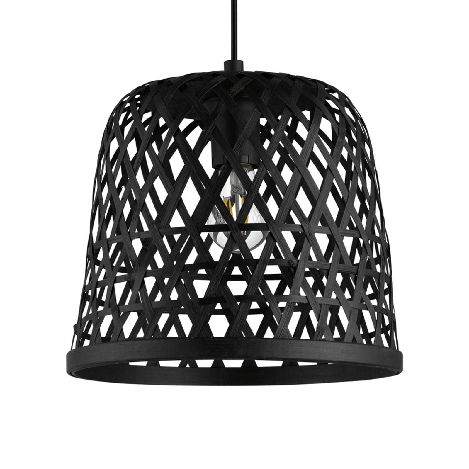 Hanglamp Kirkcolm met houten kap 30cm, zwart