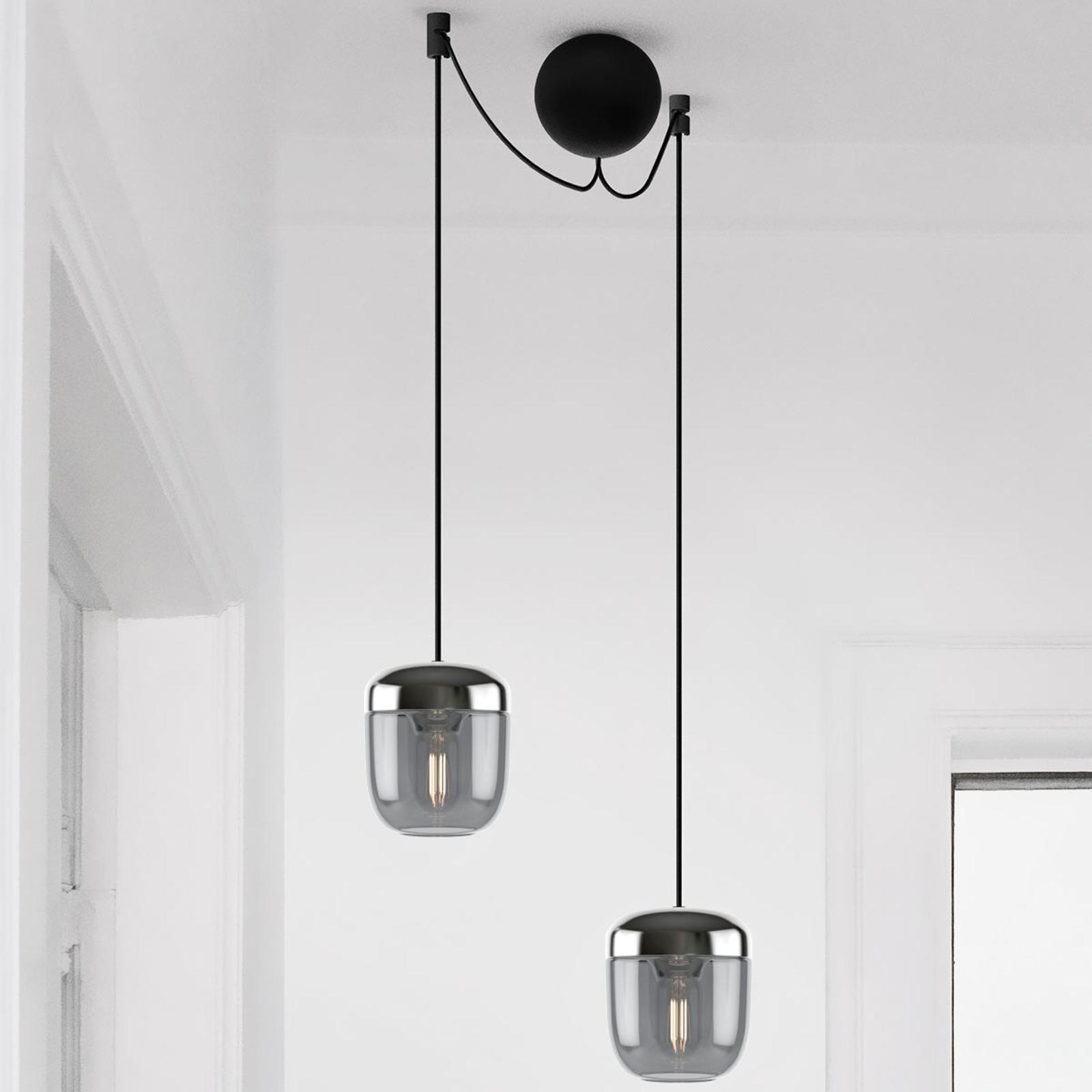 UMAGE Acorn hængelampe 2 lyskilde røggrå stål