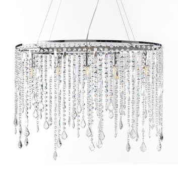 Hanglamp Laila met kristal-behang 5-lamps