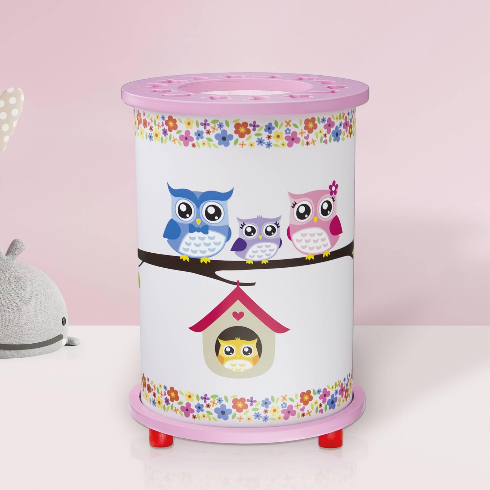 Tischleuchte Eule fürs Kinderzimmer, weiß-rosa