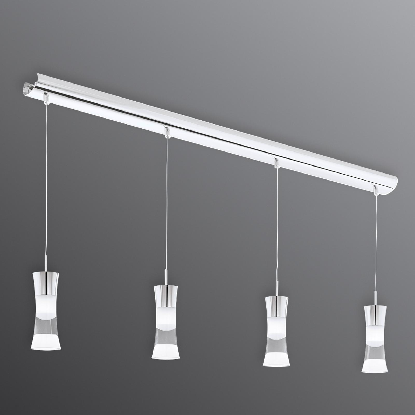 Lampada LED a sospensione 4 luci Pancento acciaio