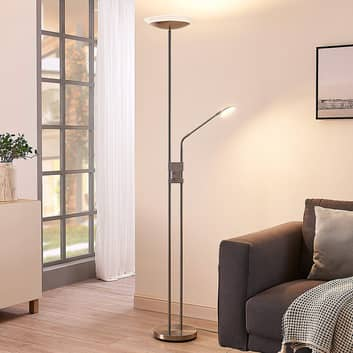 LED-gulvlampe Jonne med læsearm, dæmpbar, rund