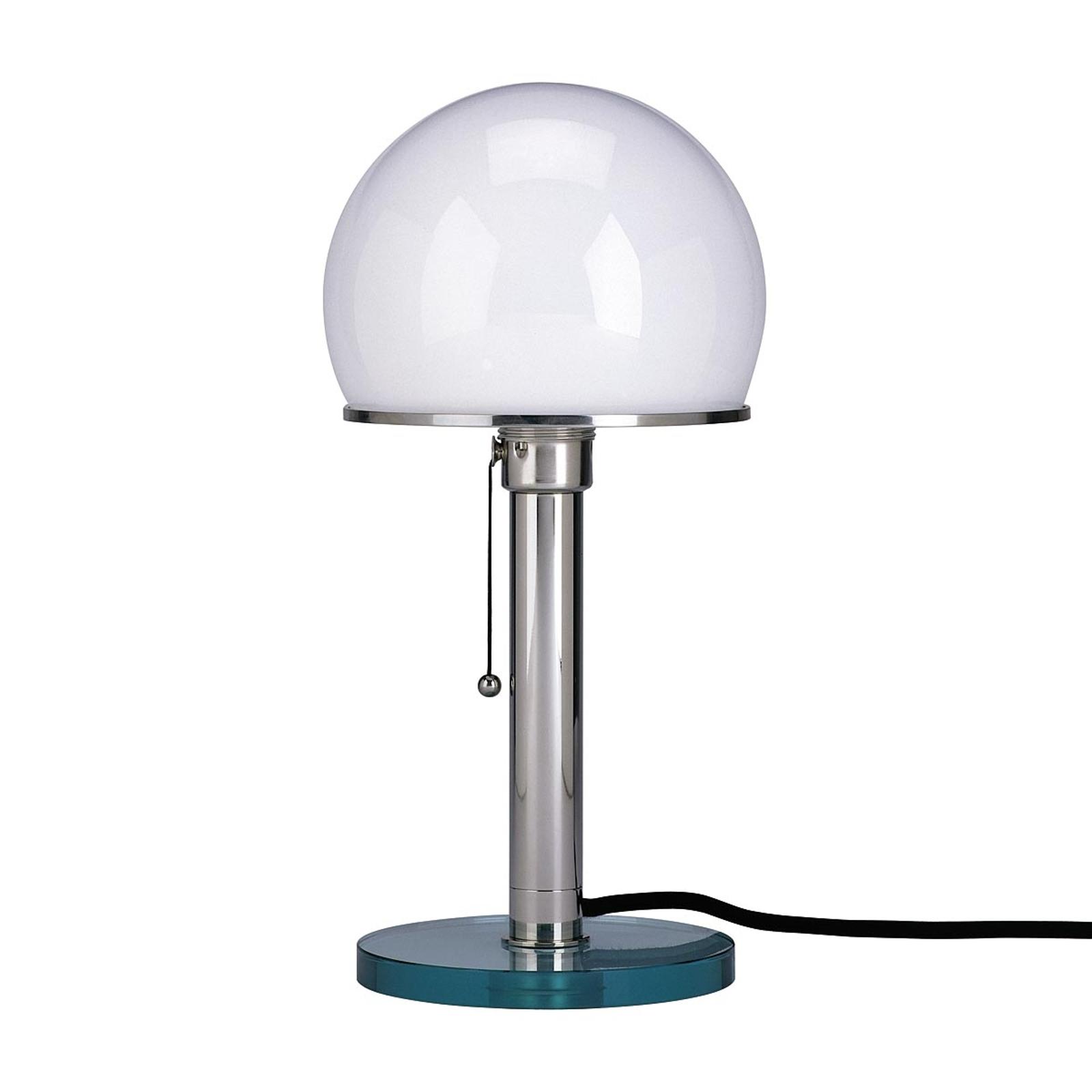 Wagenfeld-tafellamp, glazen voet, metalen staander