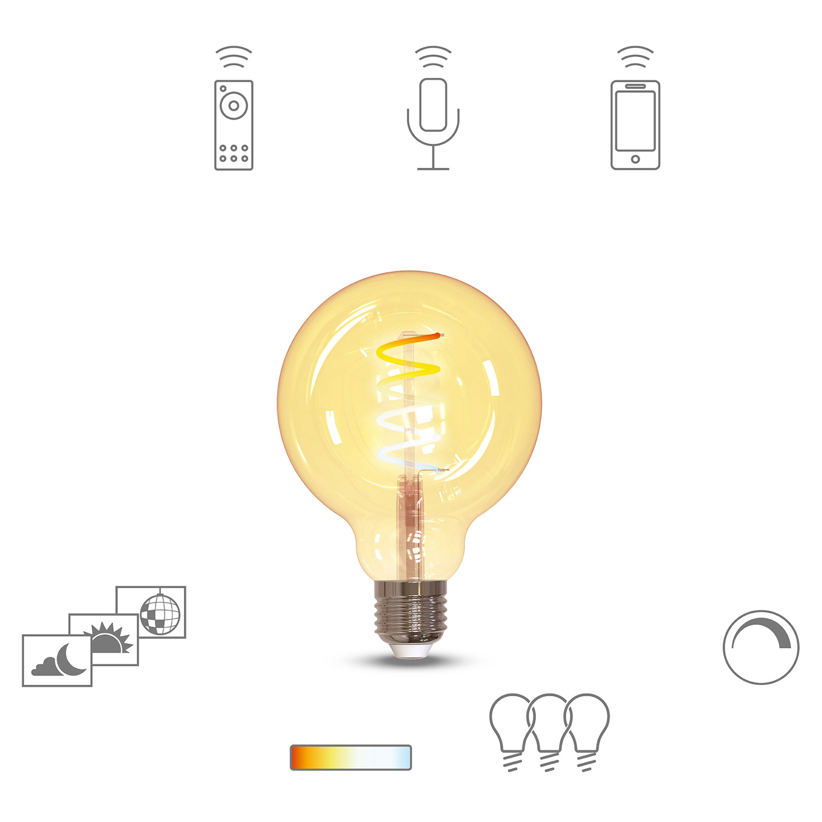 Müller Licht tint LED-Globe G95 E27 5,5W złota