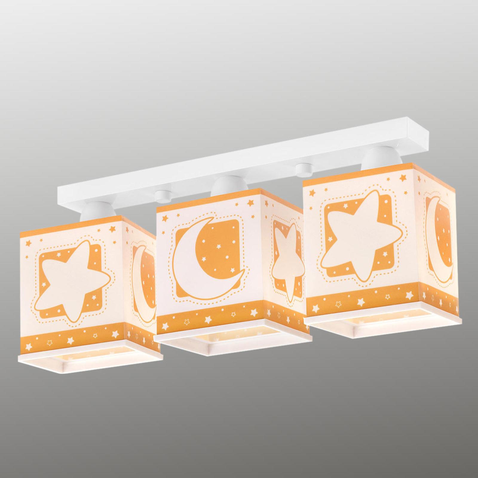 3-lichts plafondlamp Stars, oranje