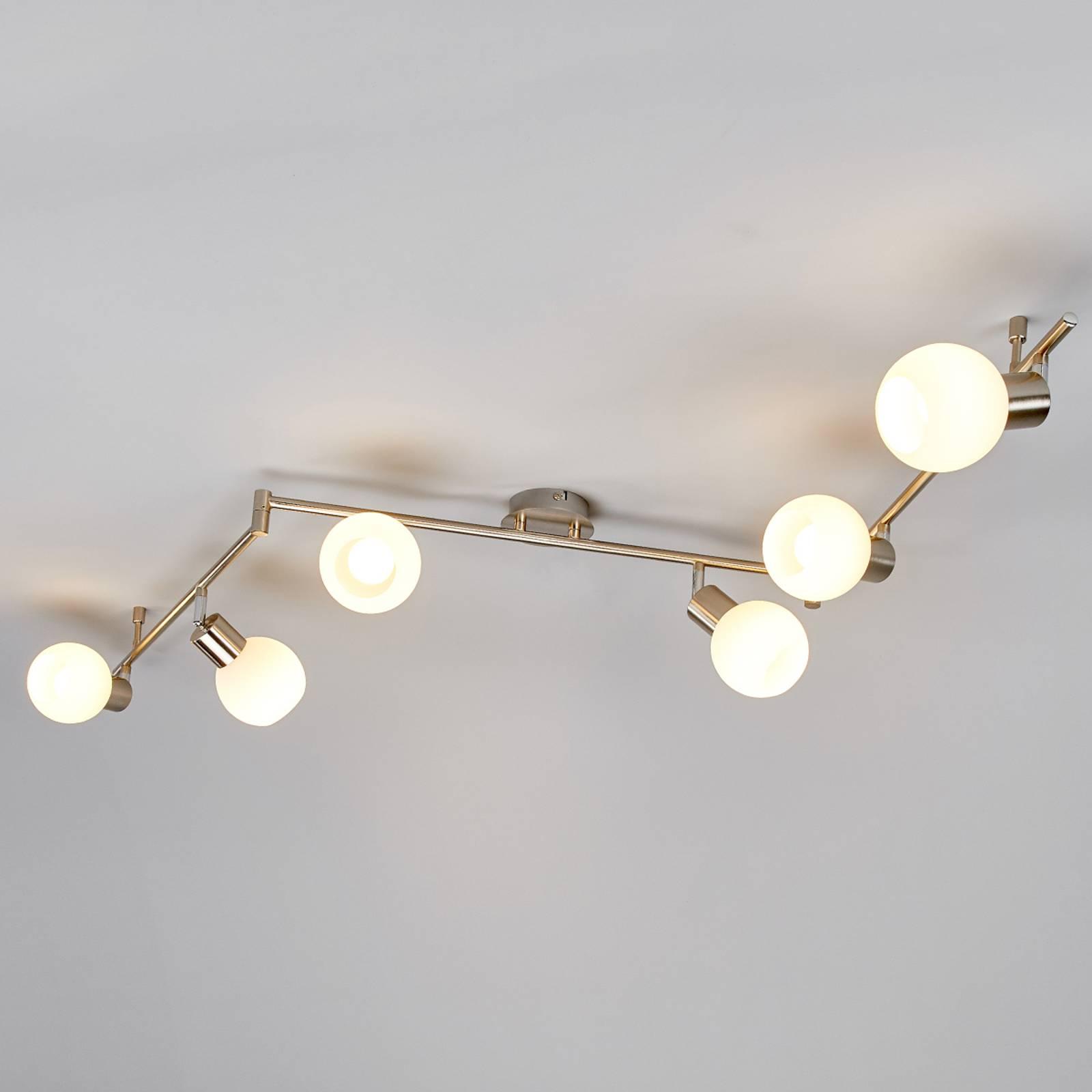 Elaina LED-plafondlamp, 6-lichts mat nikkel