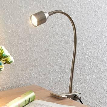 Lindby Djamila LED-klemmelampe, satineret nikkel