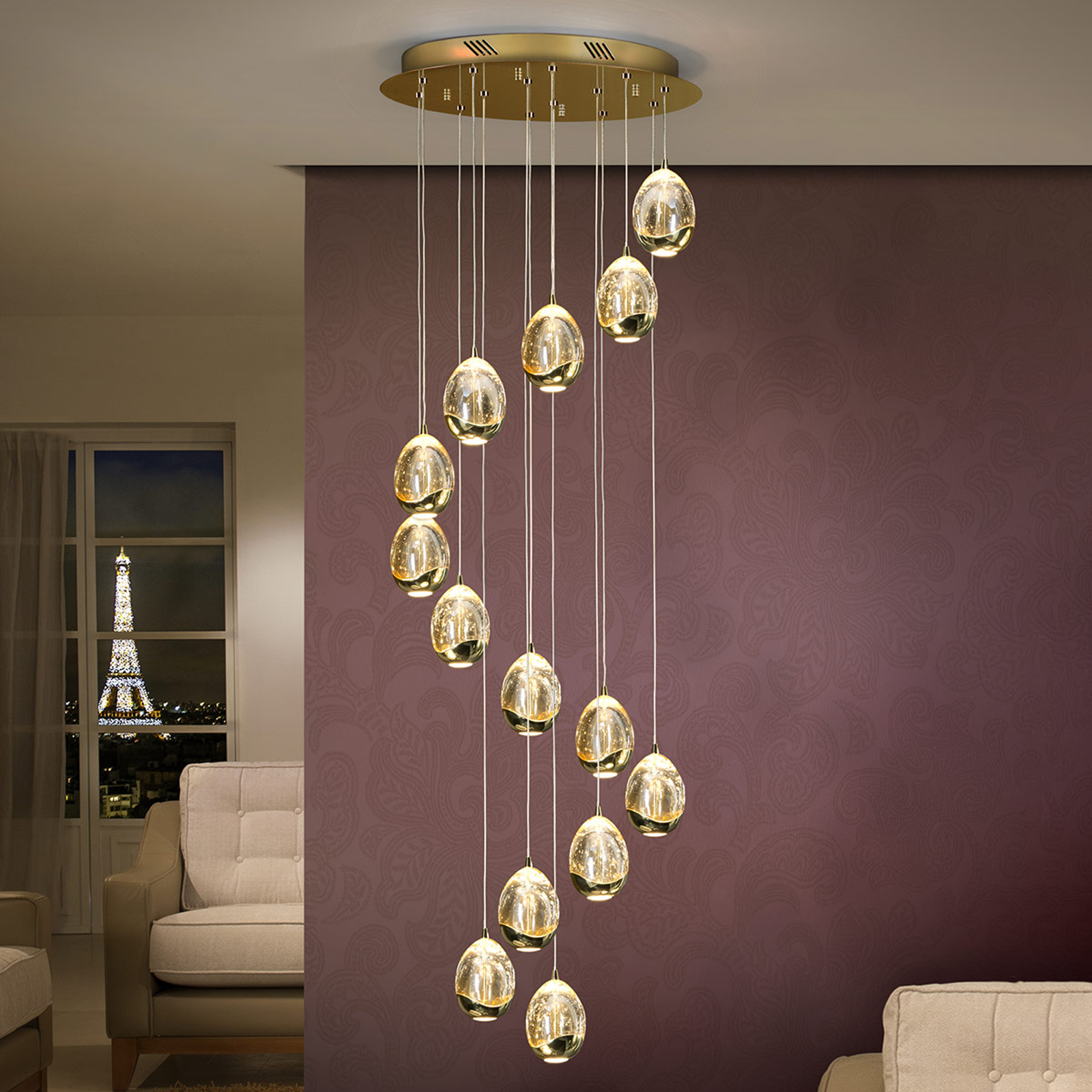 Rocio LED-pendellampe 14 lyskilder gull Bluetooth