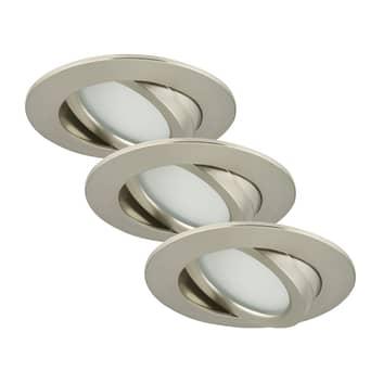3er Set schwenkbare LED-Einbauleuchte Bert, nickel