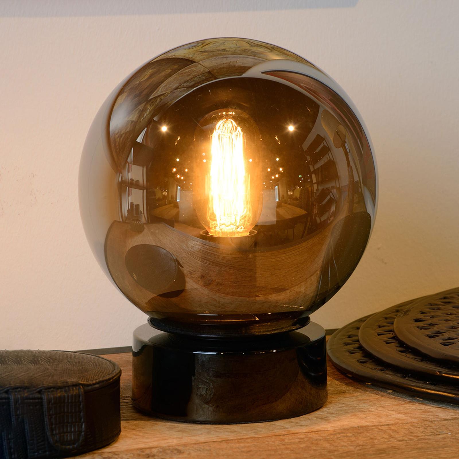 Jorit – szklana lampa stołowa, kulisty klosz 20cm