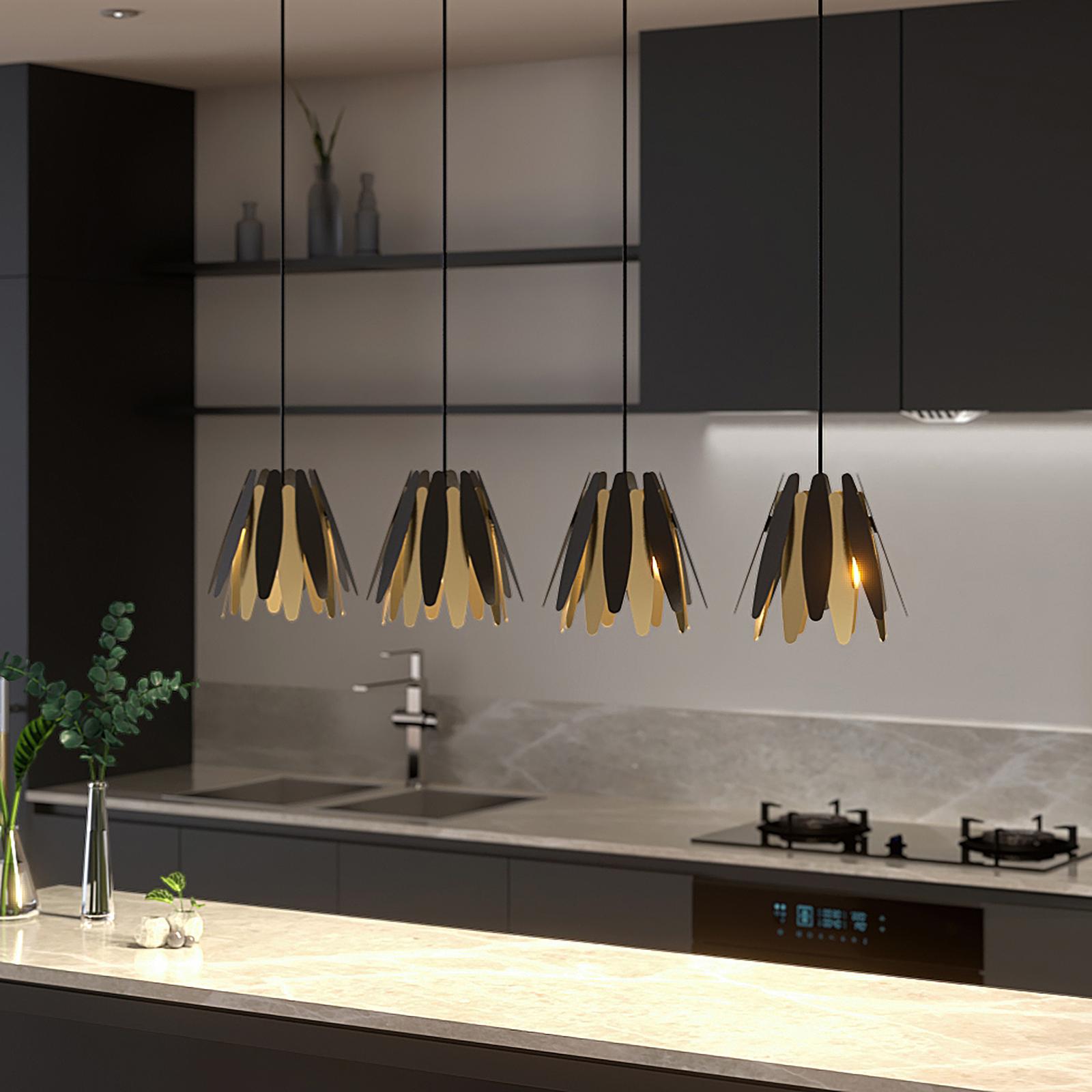 Lucande Lounit hänglampa, svart-guld, 4 lampor