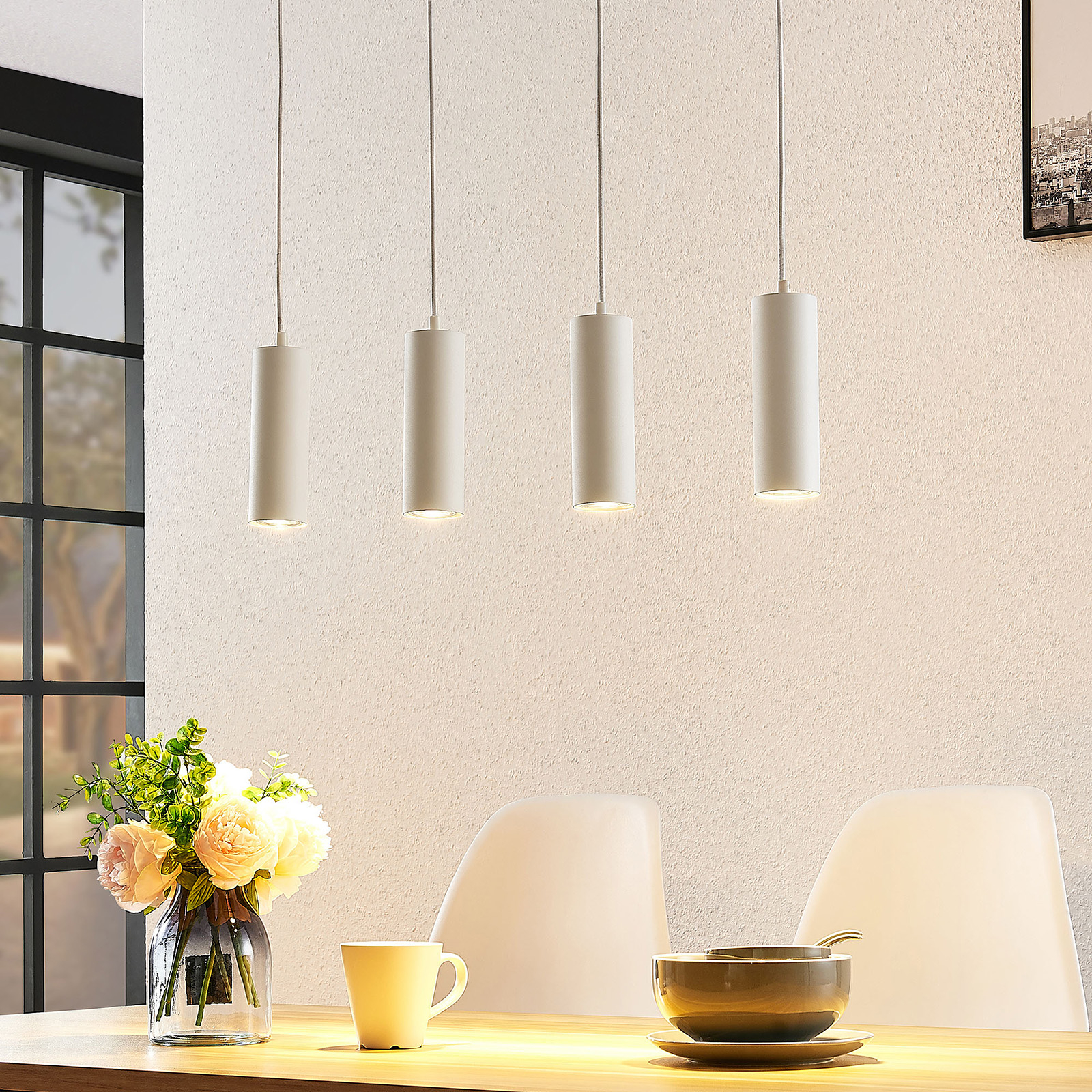 Lindby Joffrey hanglamp, 4-lamps, wit