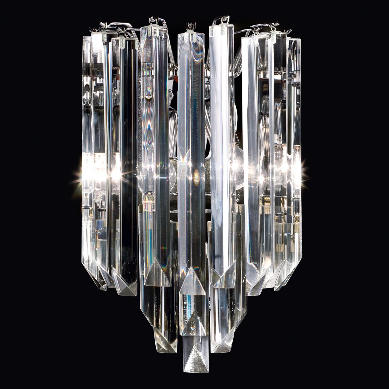 Applique Cristalli in vetro di Murano cromo 25 cm