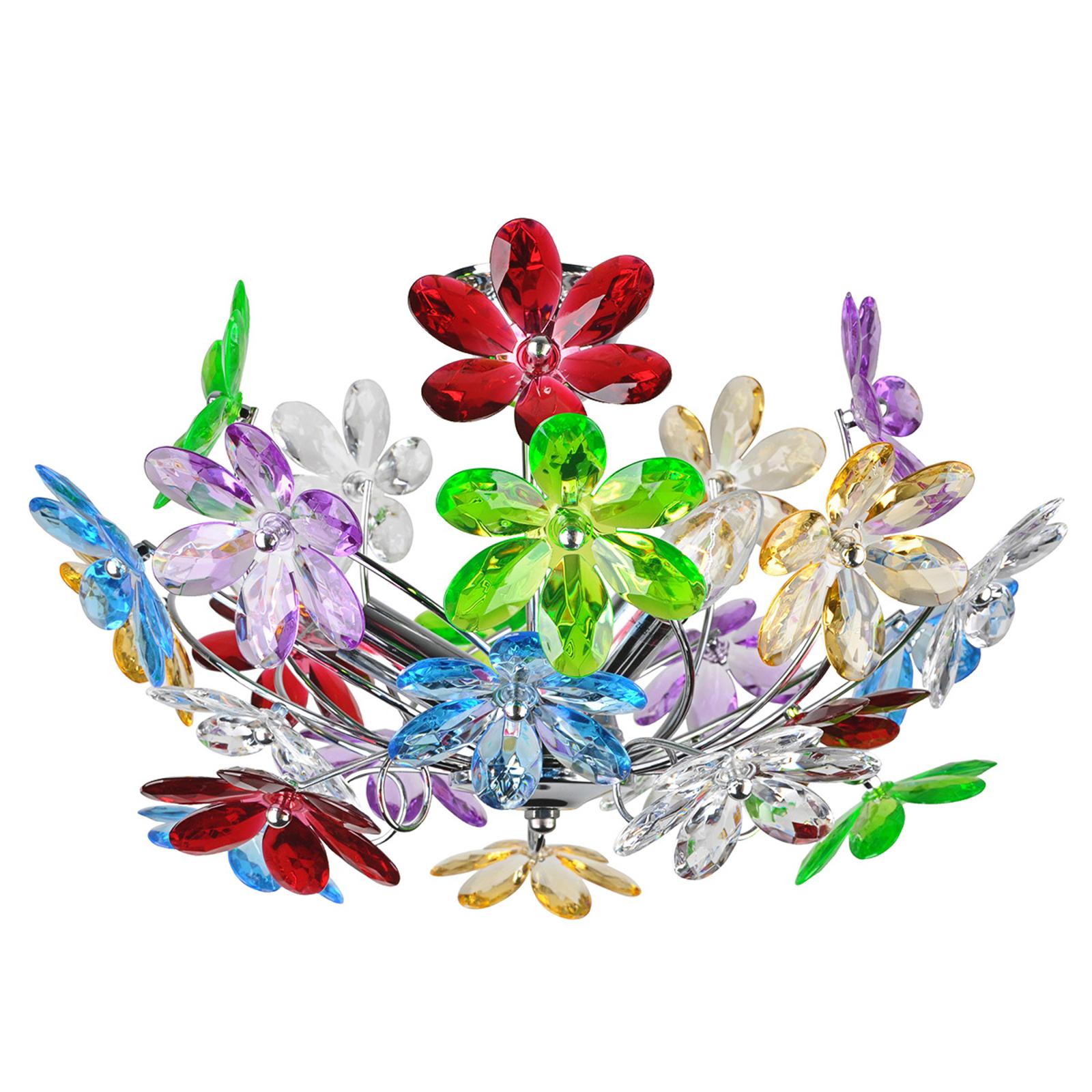 Meerkleurige plafondlamp Flower