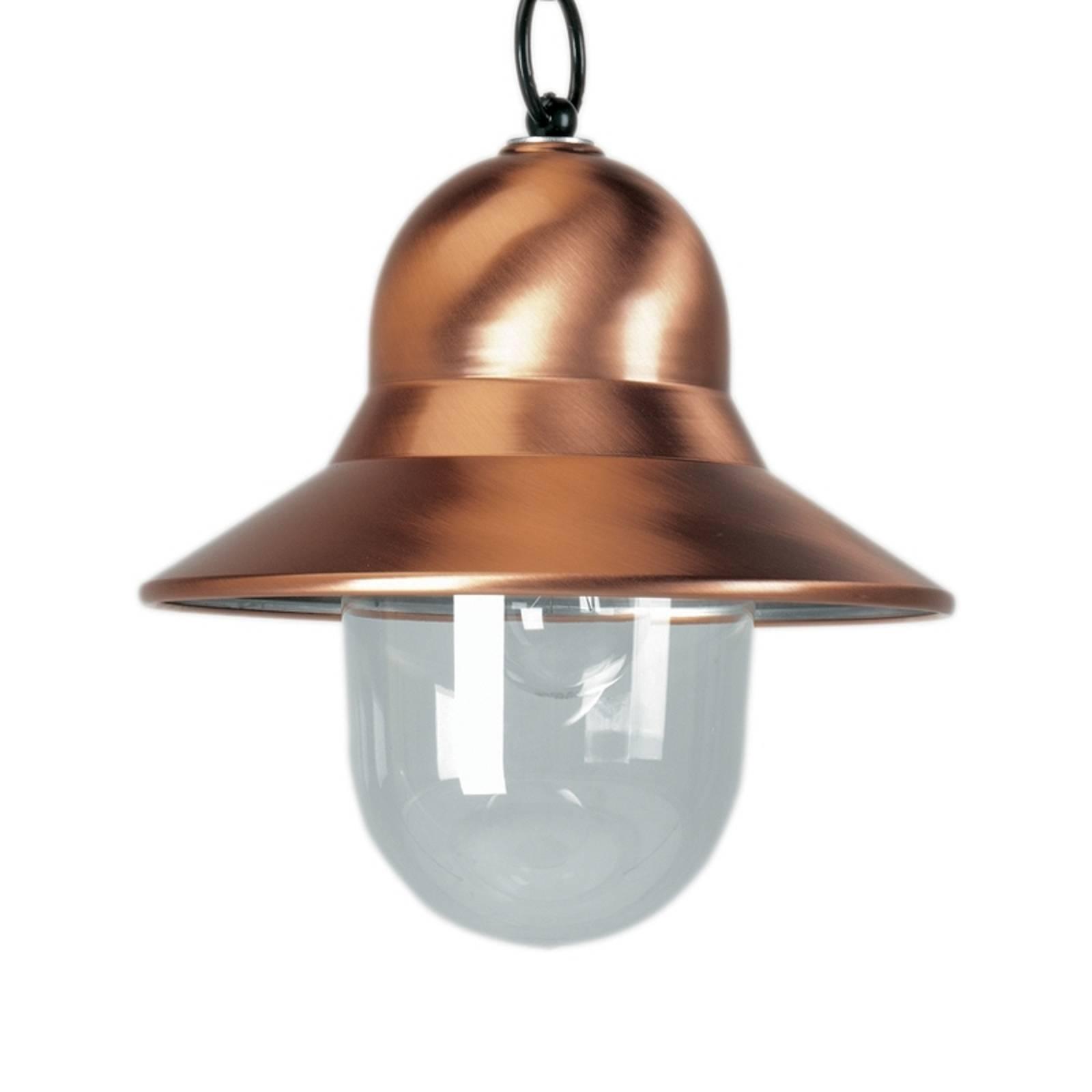 Miedziana zewnętrzna lampa wisząca Toscane, czarna