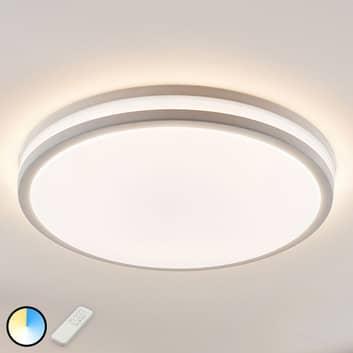LED-taklampa Arnim i vitt, med rund form