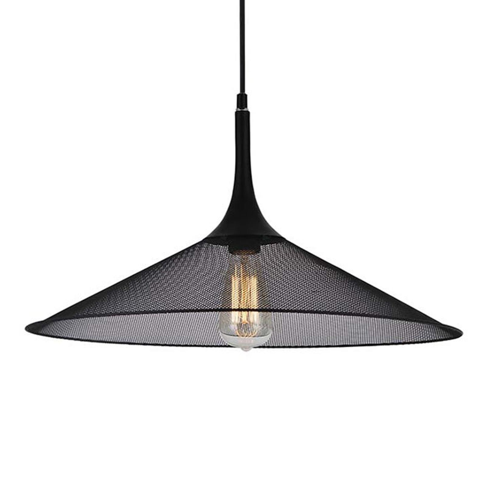 Zwarte metaal-hanglamp Izzy met roosterkap