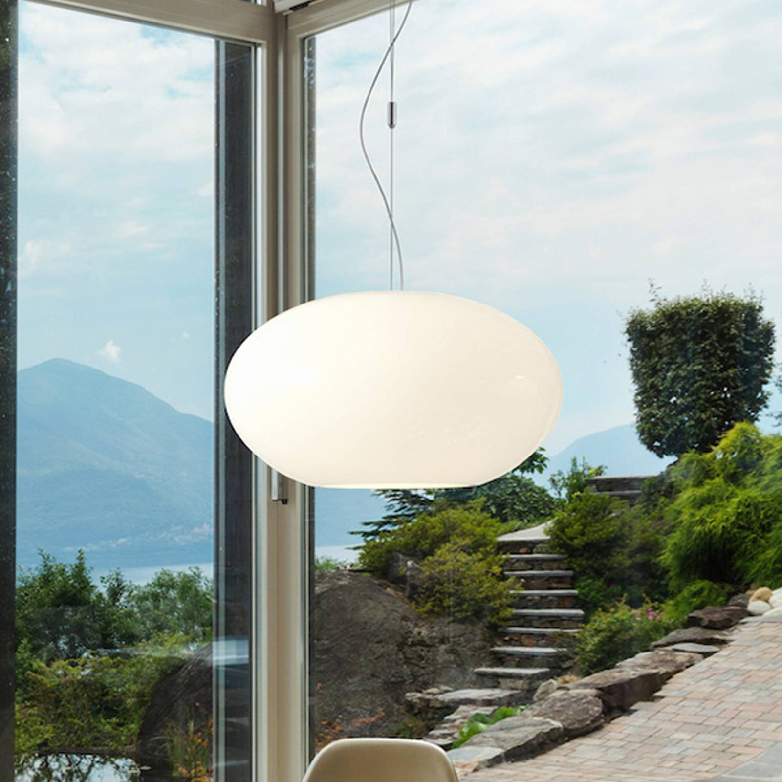 Suspension verre Aih 38 cm blanche brillante