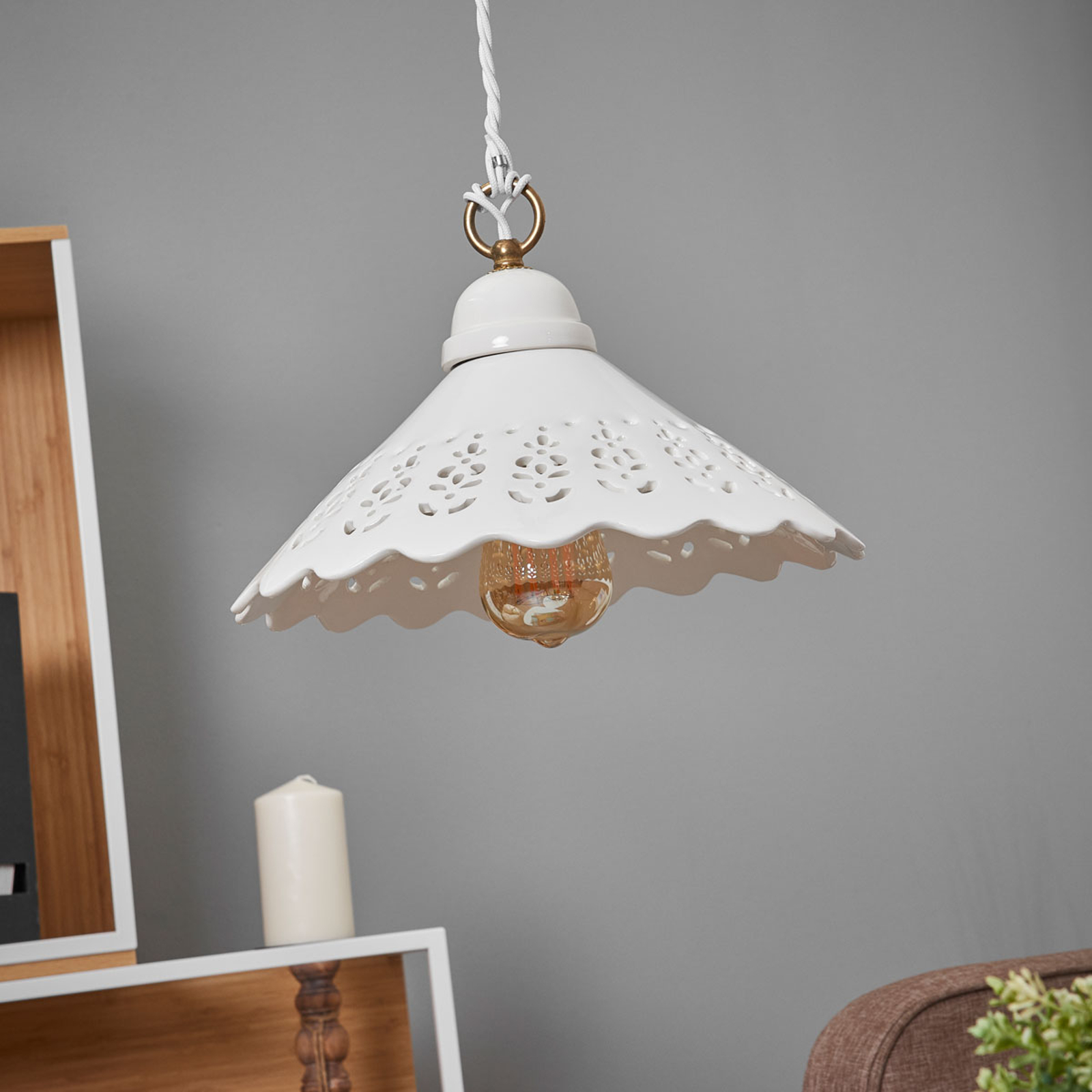 Pizzo-riippuvalaisin, 1-lamppuinen, 30 cm