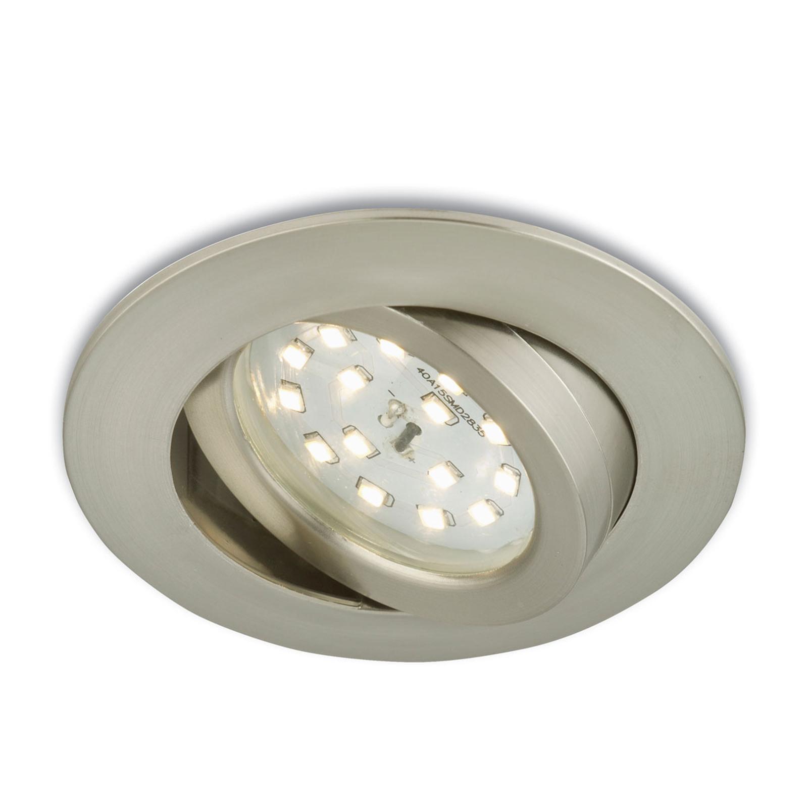Rörlig LED-inbyggnadsspot Erik matt nickel